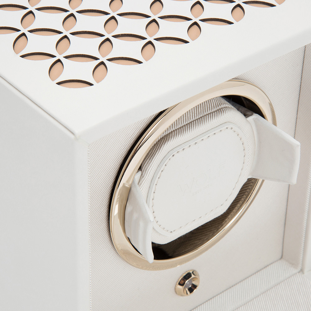 Wolf - Chloe Single Watch Winder with Cover - Cream