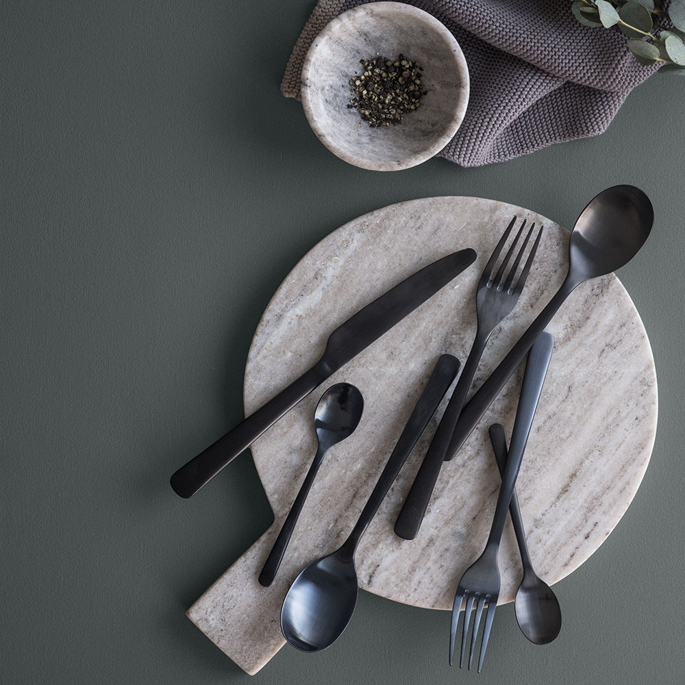 buy broste copenhagen hune flatware set titanium matt black amara. Black Bedroom Furniture Sets. Home Design Ideas