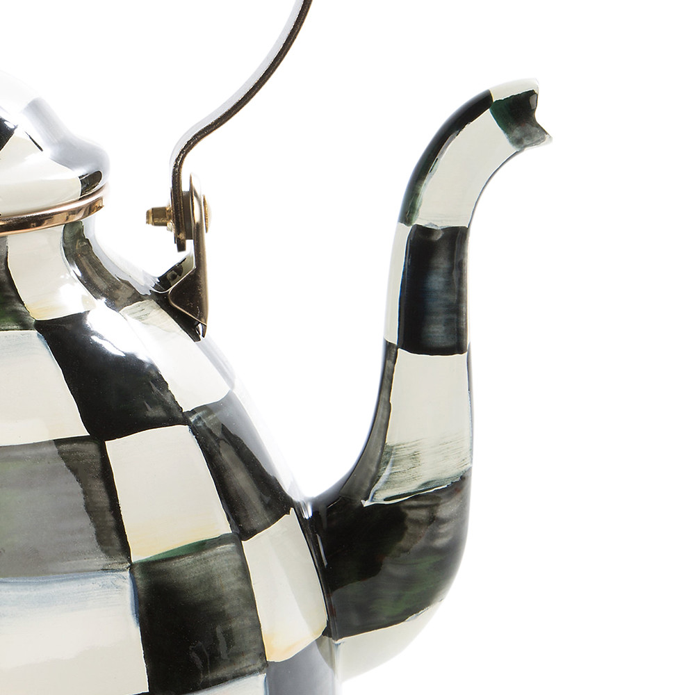 MacKenzie-Childs - Courtly Check Enamel Tea Kettle with Bird