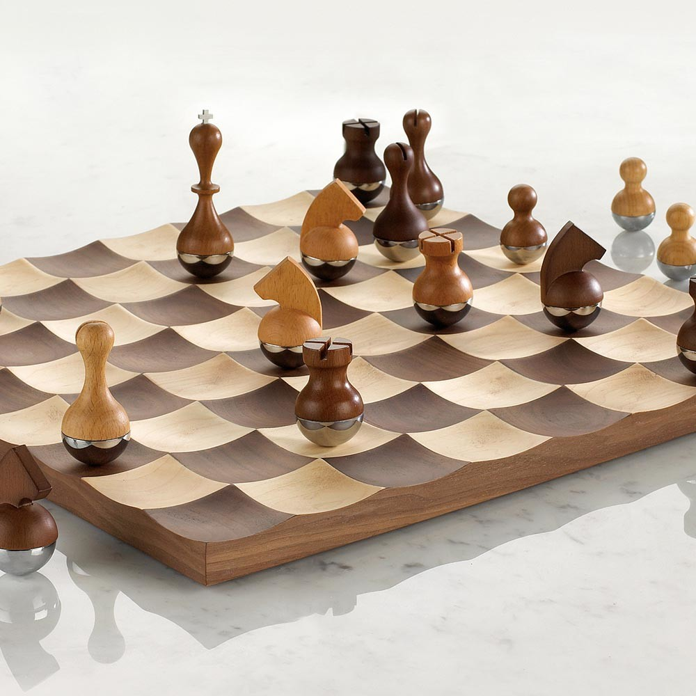Buy umbra wobble chess set walnut amara - Umbra chess set ...
