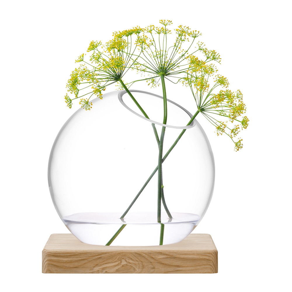 LSA International - Axis Vase  Ash Base - Clear - Large