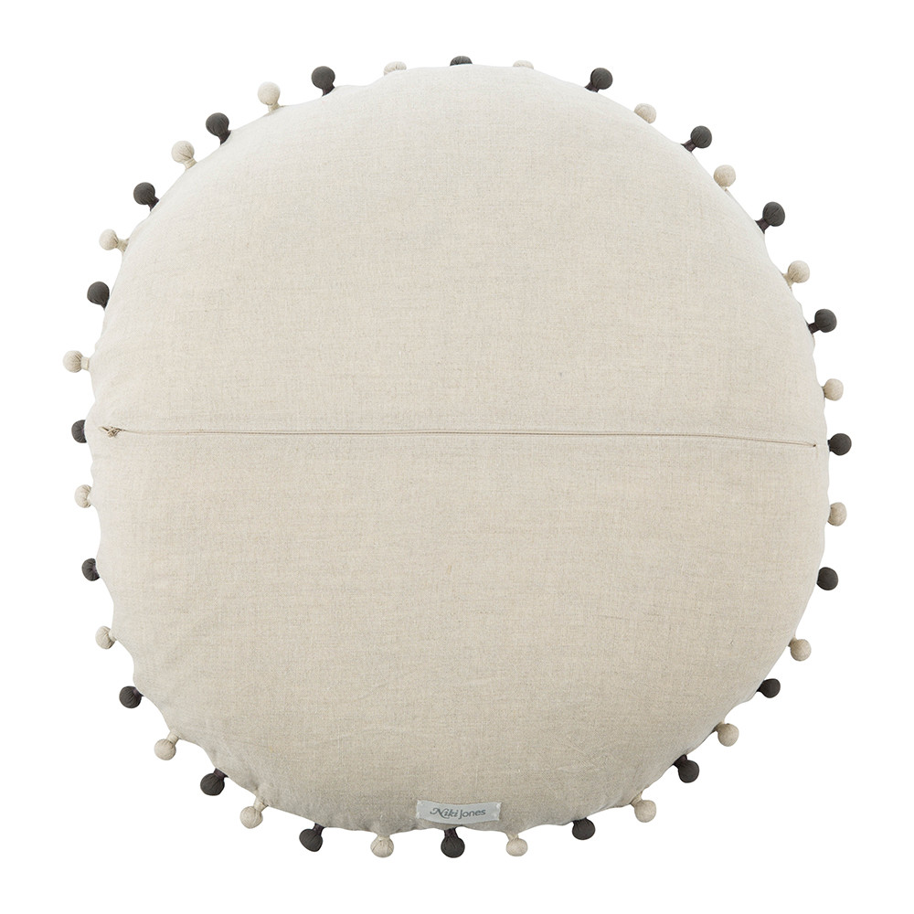 Niki Jones - Concentric Cushion - Ø50cm - Slate on Natural Linen