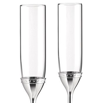 With Love Silver Toasting Flute - Set of 2