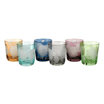 Peony Glass Tumblers - Set of 6