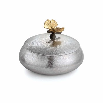 Butterfly Gingko Round Trinket Box