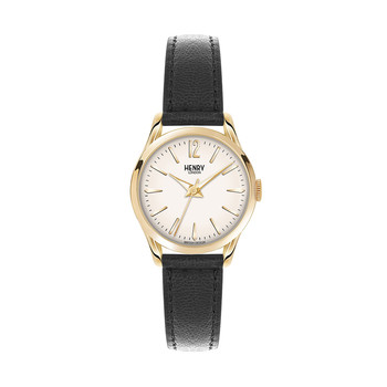 Westminster Black Leather Strap Watch with White Face