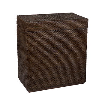 Rectangular Laundry Basket with Raised Lid - Teak