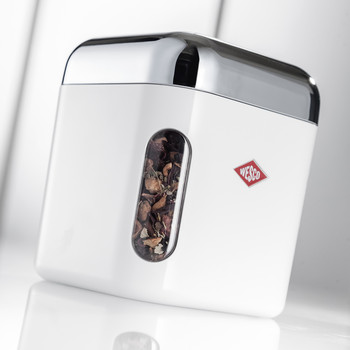 Square Canister with Window - Almond