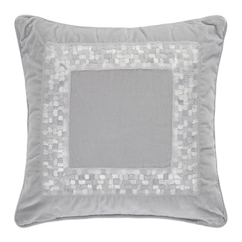 Mosaico Velvet Bed Pillow - 40x40cm - Silver