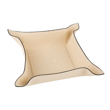 Wey Leather Trinket Tray - Ivory Faux Shagreen