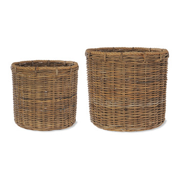 Round Log Baskets with Rope - Set of 2