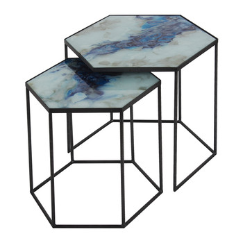 Hexagonal Side Table Set - Cobalt Mist