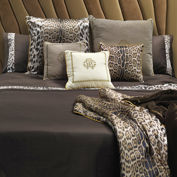 Leopard Border Bed Set - Super King - Chocolate