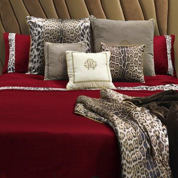 Leopard Border Bed Set - Super King - Red