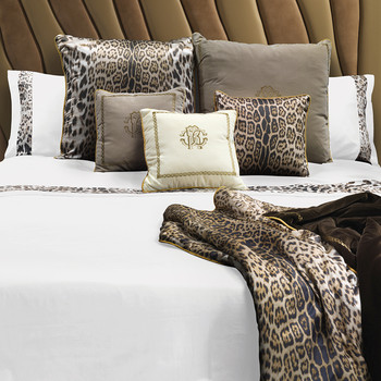 Leopard Border Bed Set - Super King - White
