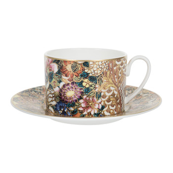 Golden Flowers Teacup & Saucer