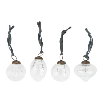 Snow Drop Baubles - Set of 4 - Clear