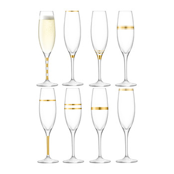 Deco Assorted Gold Champagne Flutes - Set of 8