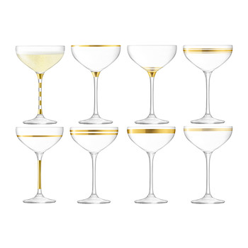 Deco Assorted Gold Champagne Saucers - Set of 8