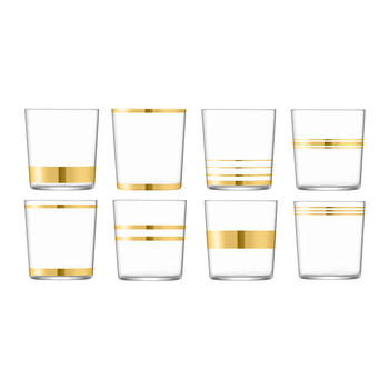 Deco Assorted Gold Tumblers - Set of 8