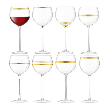 Deco Assorted Gold Wine Glasses - Set of 8