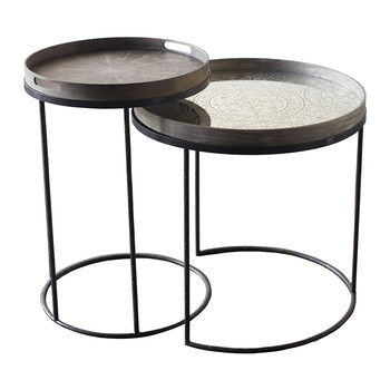 Round Nesting Tray Table - Set of 2