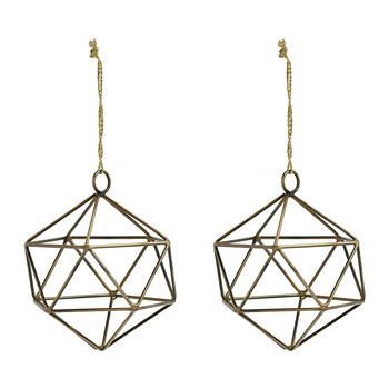 Triangular Tree Decoration - Gold - Set of 2