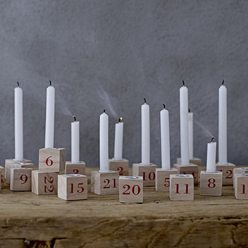Wooden Number Christmas Candle Holders - Set of 24