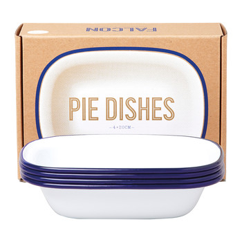Pie Dishes - Original White with Blue rim