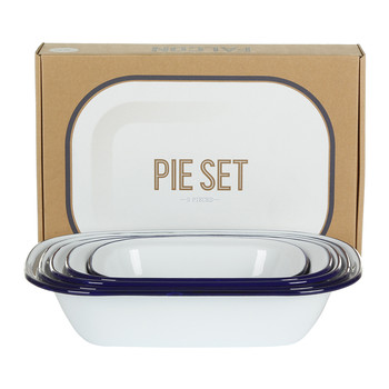 Pie Set - Original White with Blue rim