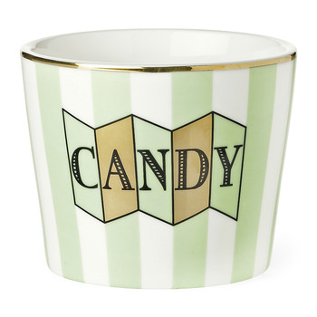 Ceramic Pot - 'Candy' Green Stripe