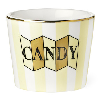 Ceramic Pot - 'Candy' Lemon Stripes