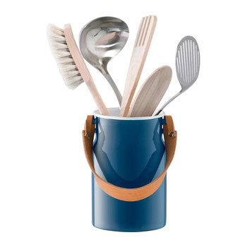 Utility Utensil Pot & Leather Handle - Juniper Blue