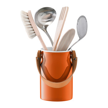 Utility Utensil Pot & Leather Handle - Pumpkin Orange