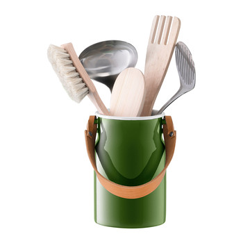 Utility Utensil Pot & Leather Handle - Sage Green