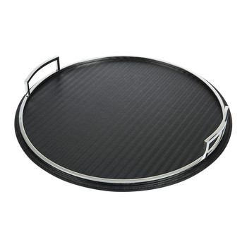 Melrose Avenue Round Leather Tray - Black Dandy