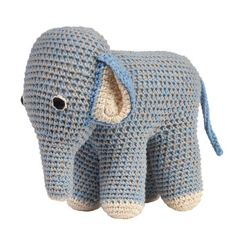 Crochet Elephant - Blue/Grey
