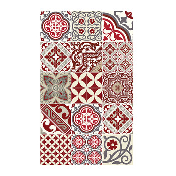 Eclectic Vinyl Floor Mat - Red