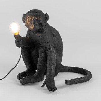 Monkey Lamp - Sitting - Black