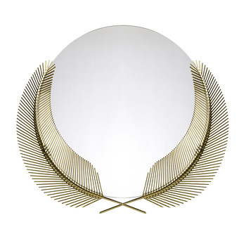 Round Sunset Mirror with Palm Leaves - Round - Brass