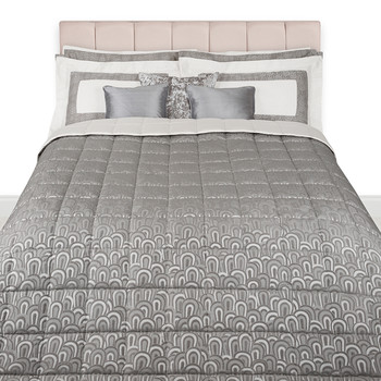 Puzzle Piquet Bedspread - Cream/Grey