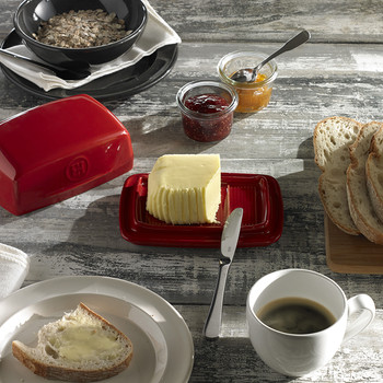 Ceramic Butter Dish - Red