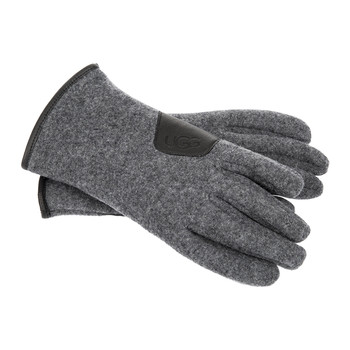 Men's Fabric Gloves with Leather Trim - Charcoal