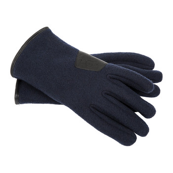 Men's Fabric Gloves with Leather Trim - Navy