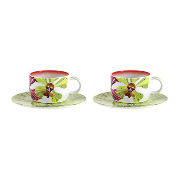 Flowers - Coffee Cup & Saucer - Set of 2