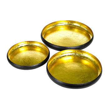 Lotus Leaf Decorative Tray - Set of 3 - Gold