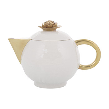 Medium Tea Pot - 900ml - White & Antique Gold
