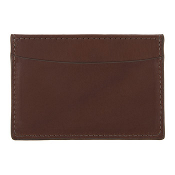 Slim Design Leather Card Case - Brown Boarded