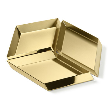 Axonometry Serving Tray - Set of 3 - Brass Cube
