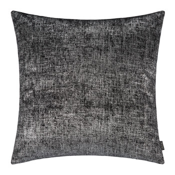 Hester Velvet Cushion - 50x50cm - Black/Chrome